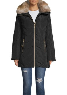 MICHAEL Michael Kors Removable Faux Fur Hood Chevron Quilt Walker Coat