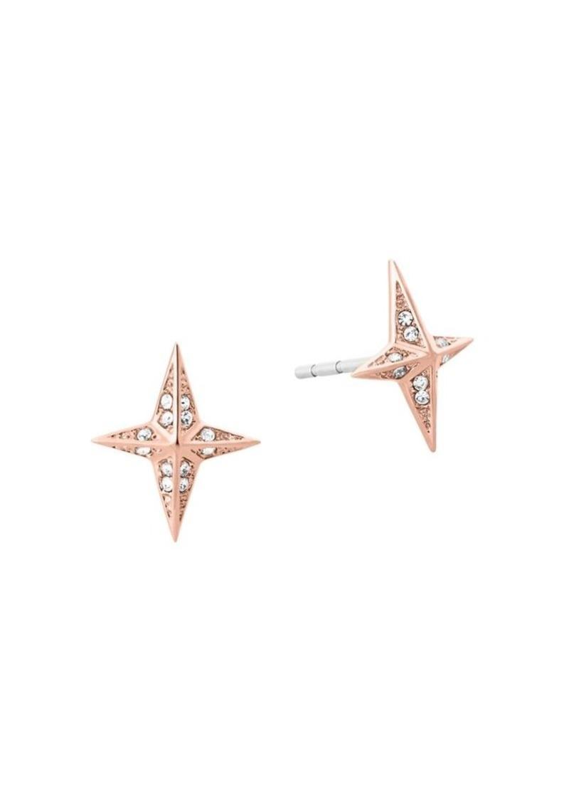 Brilliance Crystal And Stainless Steel Starburst Pave Stud Earrings Michael Kors