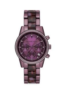 Michael Kors Ritz Pavé Purple Stainless Steel Bracelet Chronograph Watch