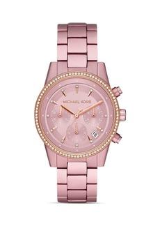 Michael Kors Ritz Pink Aluminum Link Bracelet Chronograph, 37mm