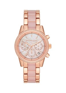 Michael Kors Ritz Rose Goldtone Stainless Steel, Pink Mother-Of-Pearl & Crystal Bracelet Watch
