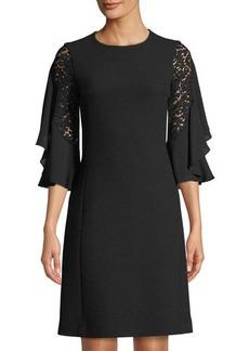 Michael Kors Collection Ruffle-Sleeve Boucle Crepe Dress