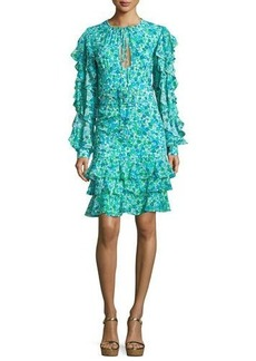 Michael Kors Ruffled Floral Keyhole Dress