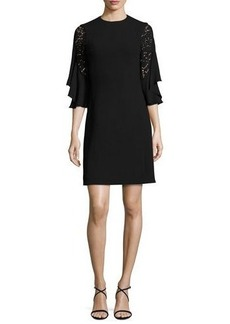 Michael Kors Ruffled Lace-Sleeve Shift Dress
