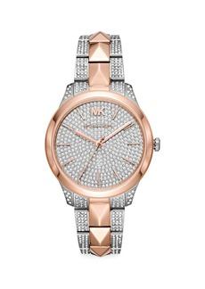 Michael Kors Runway Mercer Embellished Two-Tone Stainless Steel Bracelet Watch