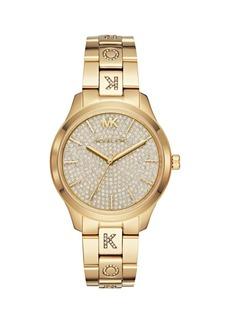Michael Kors Runway Three-Hand Crystal-Studded Goldtone Stainless Steel Bracelet Watch