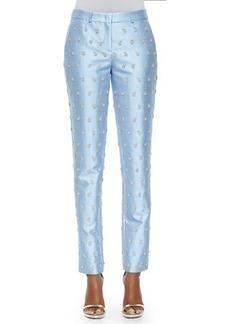 Michael Kors Samantha Embroidered Skinny Pants