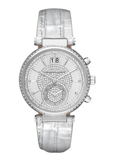 Michael Kors Sawyer Pave Crystal Sport Watch w/ Leather Strap