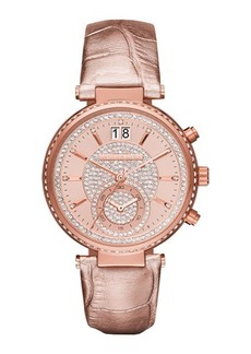 MICHAEL Michael Kors Sawyer Pave Crystal Sport Watch w/ Leather Strap