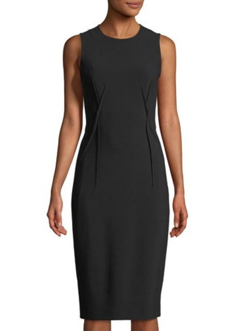 Michael Kors Collection Seamed Stretch Wool Crepe Sheath Dress