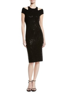 Michael Kors Collection Sequined Cutout Sheath Dress