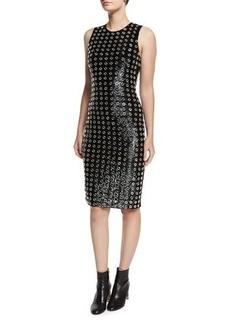 Michael Kors Sequined Grommet Sheath Dress