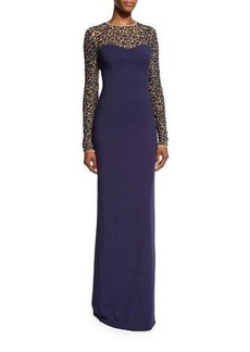 Michael Kors Sequined Lace Long-Sleeve Gown