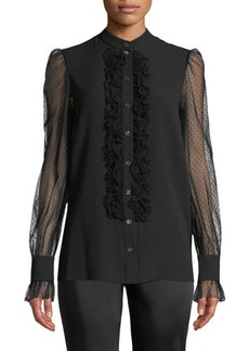 Michael Kors Collection Sheer-Sleeved Ruffled Button-Front Blouse