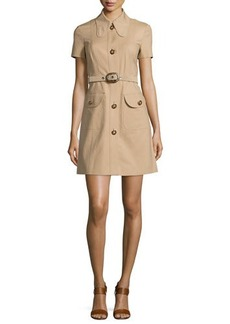 Michael Kors Collection Short-Sleeve Button-Front Shirtdress