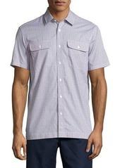 Michael Kors Short-Sleeve Check-Print Cotton Shirt