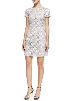 Michael Kors Short-Sleeve Eyelet Dress