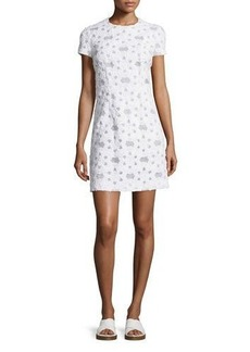 Michael Kors Collection Short-Sleeve Floral-Applique Dress