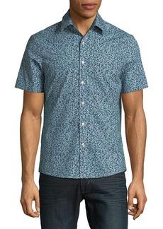 Michael Kors Short Sleeve Printed Button-Down Shirt