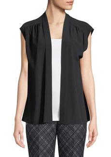 Michael Kors Collection Silk Cap-Sleeve Wrap Blouse