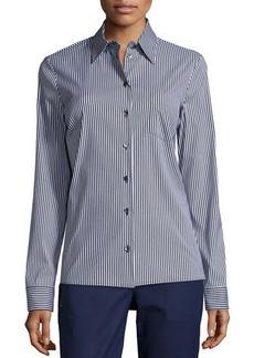 Michael Kors Skinny-Stripe Button-Front Classic Shirt