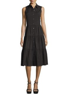 Michael Kors Sleeveless Button-Front Midi Shirtdress