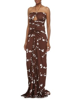 Michael Kors Sleeveless Cutout Ruched Gown