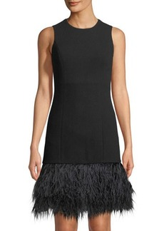 Michael Kors Collection Sleeveless Feather-Hem Cocktail Dress