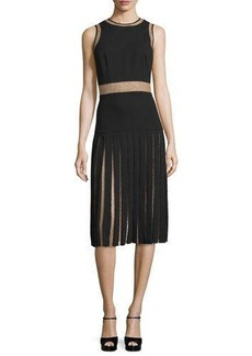 Michael Kors Sleeveless Pleated Dress W/Lace Insets