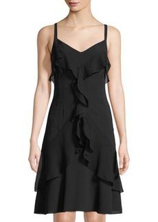 Michael Kors Collection Sleeveless Ruffle-Front Silk Dress