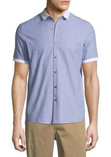 Michael Kors Slim-Fit Seersucker Short-Sleeve Sport Shirt
