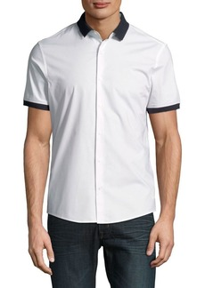 Michael Kors Slim-Fit Stretch Short-Sleeve Woven Button-Down Shirt