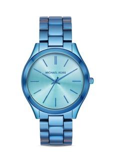 Michael Kors Slim Runway Blue Link Bracelet Watch, 42mm