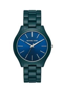 Michael Kors Slim Runway Three-Hand Blue Stainless Steel Watch
