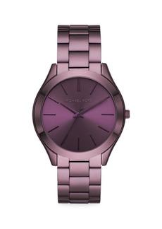 Michael Kors Slim Runway Three-Hand Purple Stainless Steel Watch