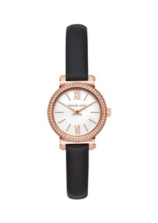 Michael Kors Sofie Two-Hand Black Leather Watch