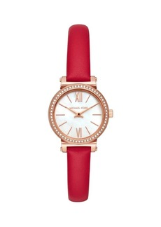 Michael Kors Sofie Two-Hand Red Leather Watch