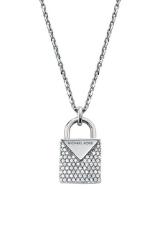 Michael Kors Sterling Silver & Crystal Padlock Pendant Necklace
