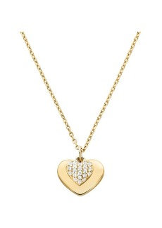 Michael Kors Sterling Silver and Crystal Heart Pendant Necklace
