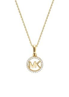 Michael Kors Sterling Silver and Crystal Logo Starter Pendant Necklace