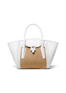 Michael Kors Straw and Leather Medium Satchel Bag