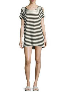 MICHAEL MICHAEL KORS Striped Cold Shoulder Cover Up