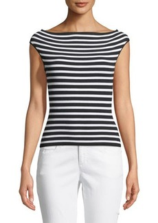 Michael Kors Collection Striped Off-the-Shoulder Cap-Sleeve Sweater