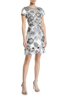 Michael Kors Summer-Floral Metallic Brocade Cutout Shift Dress