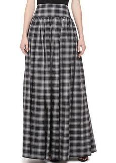 Michael Kors Taos Plaid Taffeta Maxi Skirt
