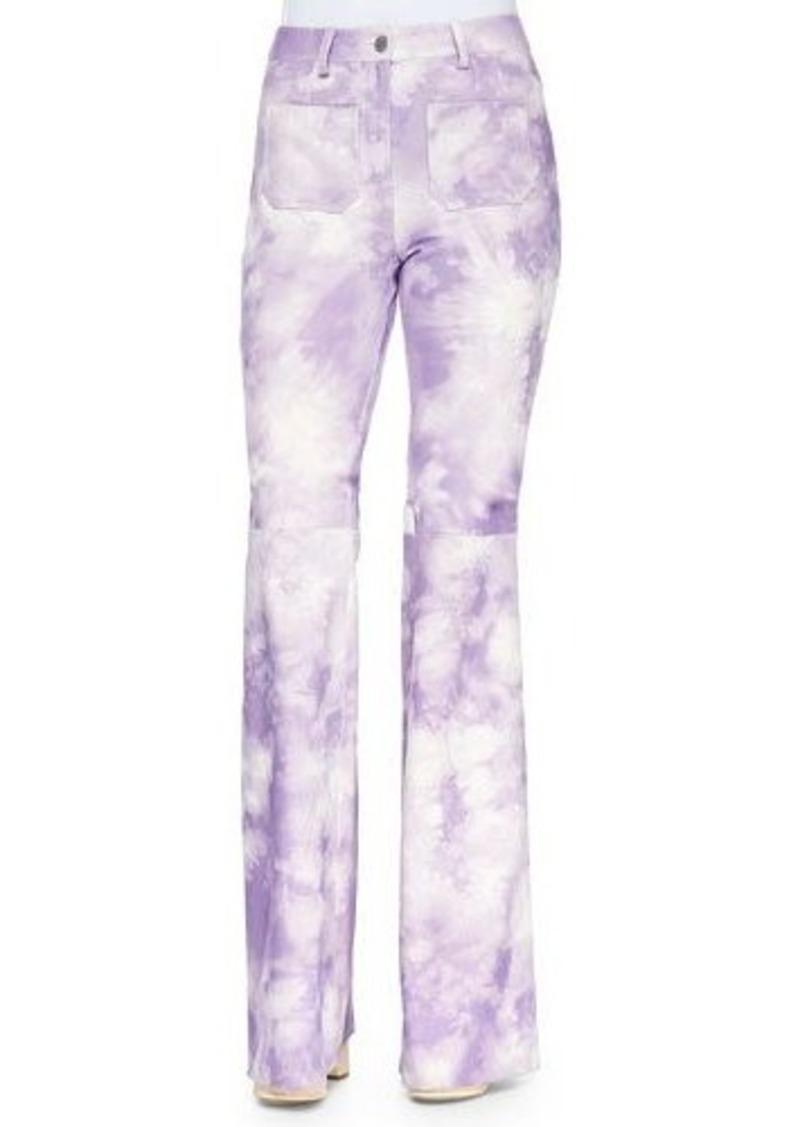 Michael Kors Tie-Dye Leather Bell-Bottom Pants
