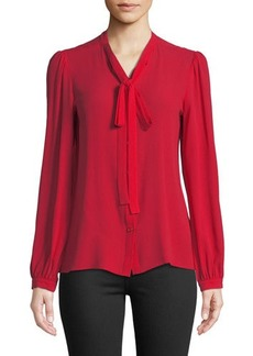 Michael Kors Collection Tie-Neck Button-Front Silk Blouse