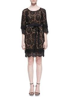 Michael Kors Tie-Waist Scalloped Lace Dress