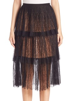 Michael Kors Tiered Chantilly Lace Skirt
