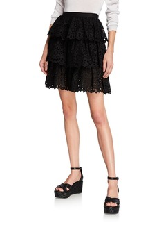 Michael Kors Collection Tiered Eyelet Mini Skirt
